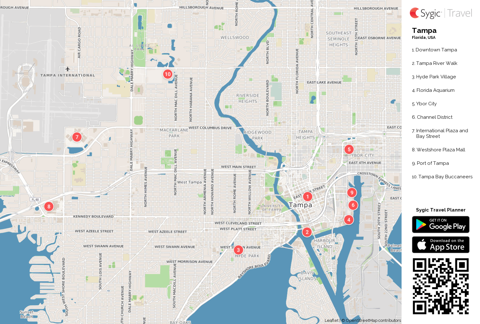 Tampa Printable Tourist Map | Sygic Travel on