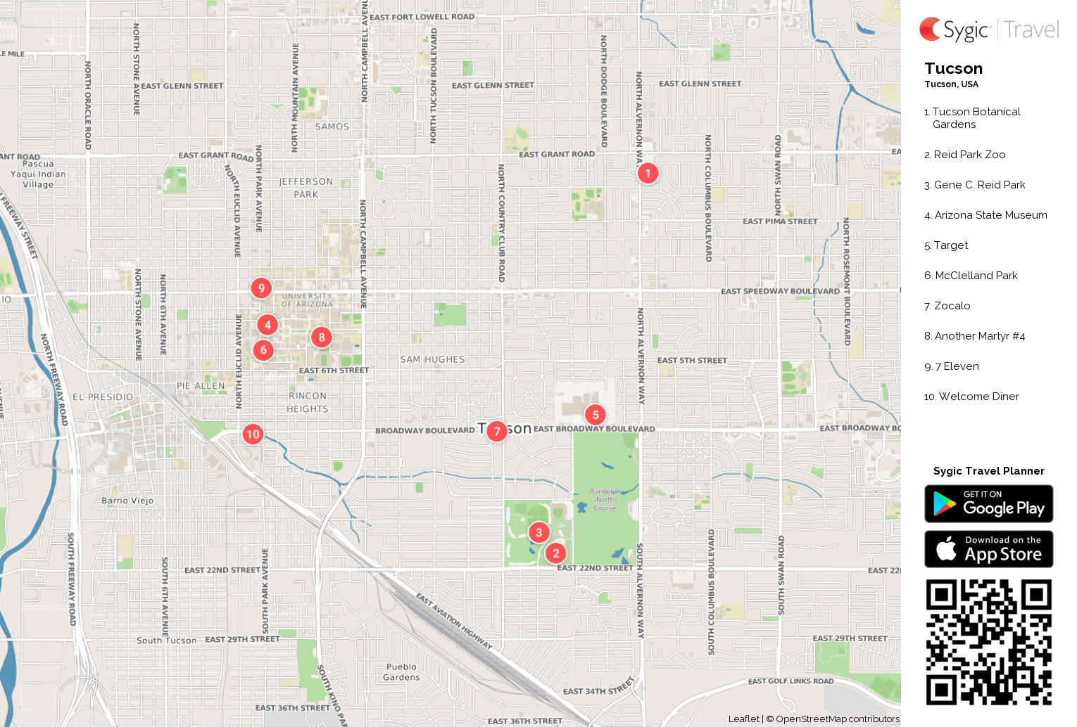 Tucson Printable Tourist Map | Sygic Travel on map of all counties in northern california, apache county arizona, downtown chandler arizona, map of city limits tucson az,