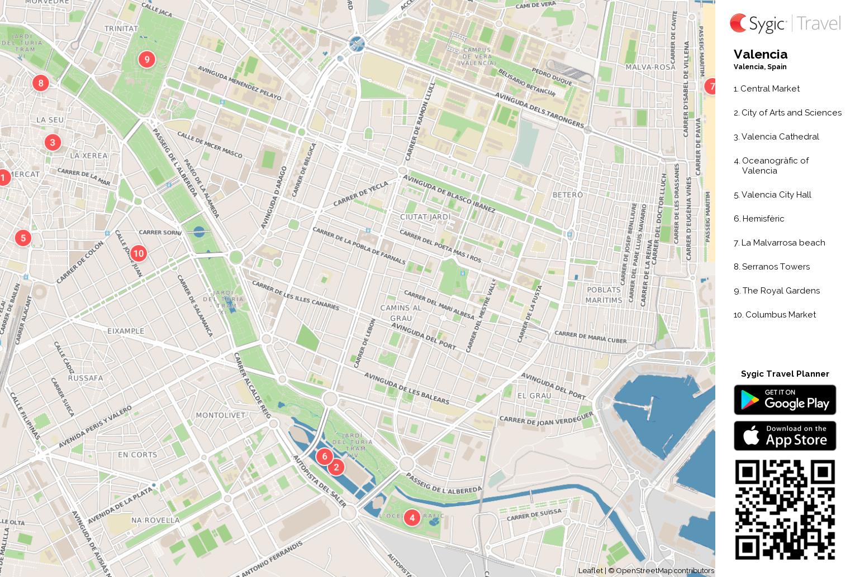 Valencia Printable Tourist Map Sygic Travel