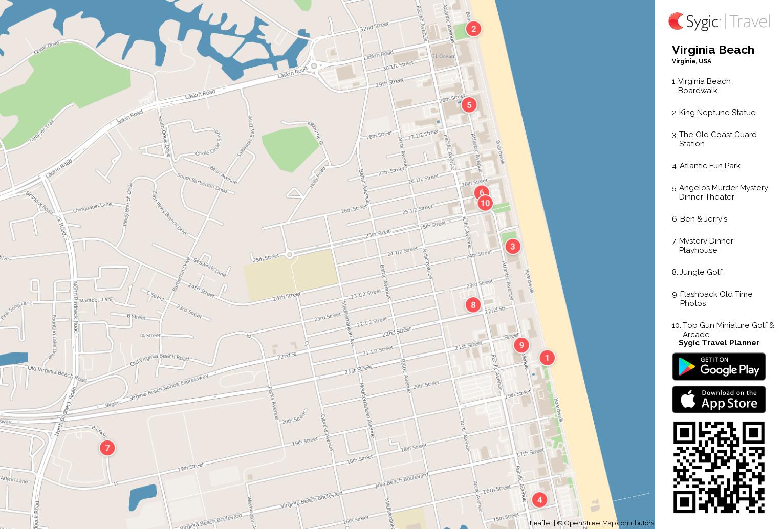 graphic regarding Printable Map of Virginia identify Virginia Seashore Printable Vacationer Map Sygic Drive