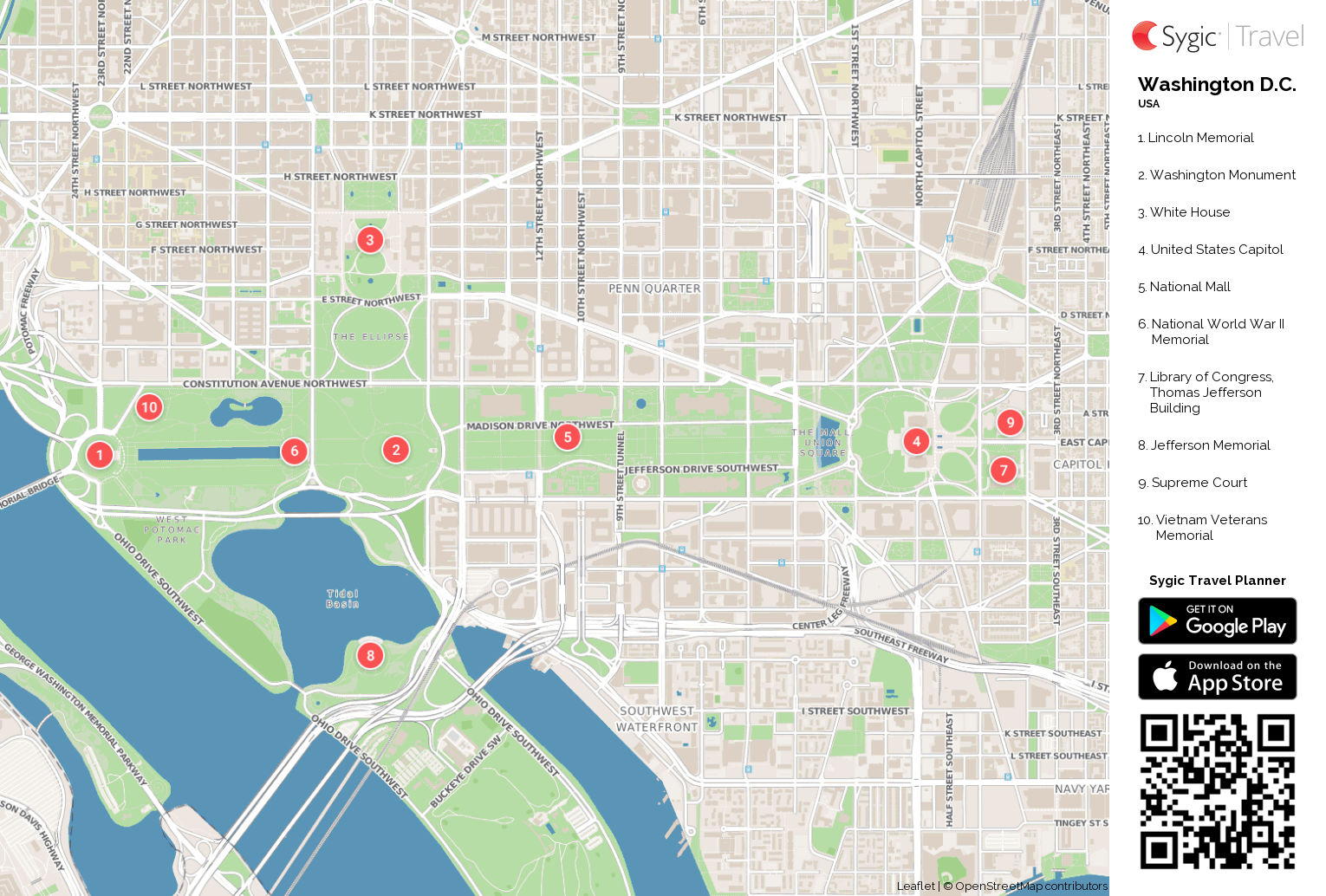 Washington D.C. Printable Tourist Map | Sygic Travel
