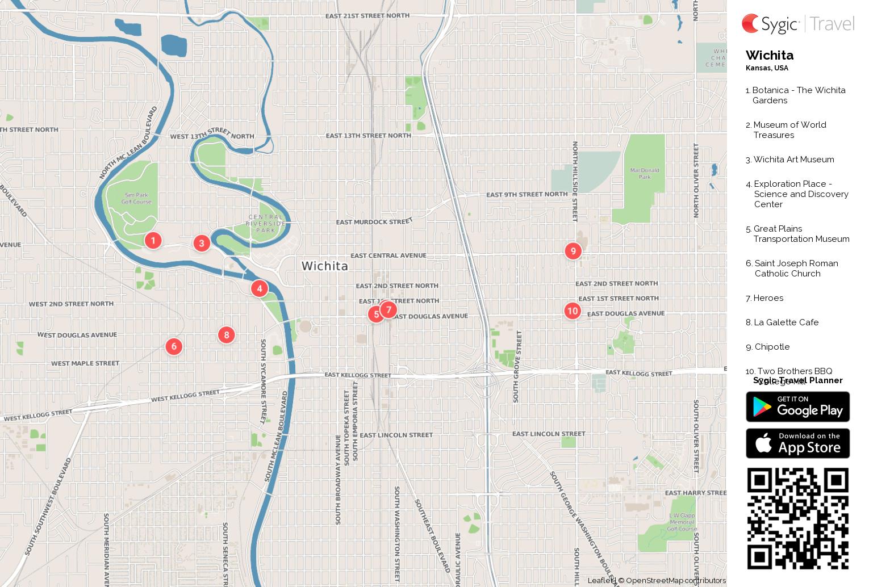 Wichita Printable Tourist Map Sygic Travel