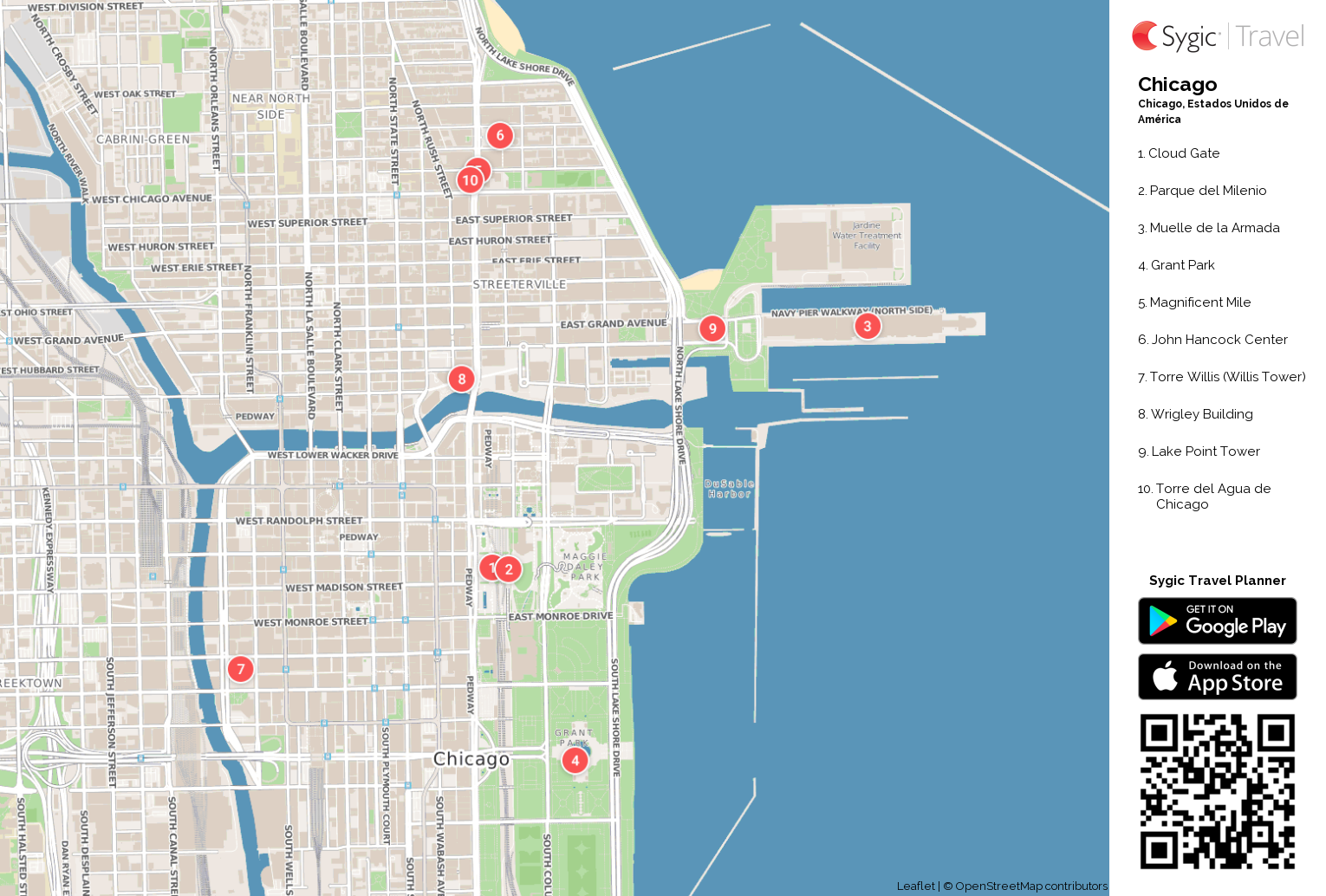 Chicago: Mapa turístico para imprimir | Sygic Travel