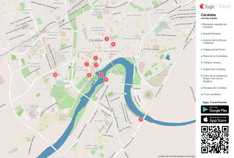 Mapa Callejero De Cordoba.Cordoba Mapa Turistico Para Imprimir Sygic Travel