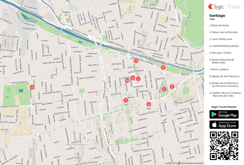 Santiago mapa tur stico para imprimir sygic travel for Calles de santiago de chile