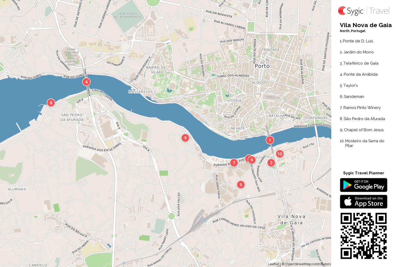 mapa de vila nova de gaia Vila Nova de Gaia: Mapa turístico em pdf | Sygic Travel mapa de vila nova de gaia